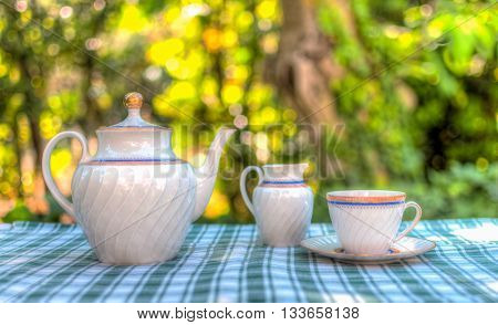 Tea Set In The Garden In Hdr