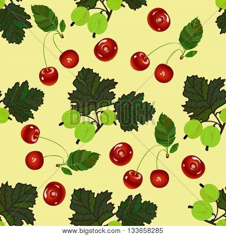 Cherry and gooseberry seamless pattern. Realistic illustration of red cherries and green gooseberries. Vector texture for textile, wrapping, wallpapers and other surfaces.