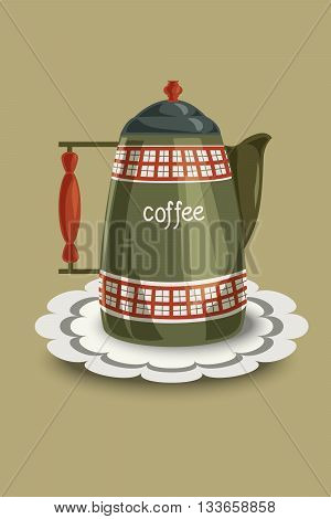Restored vintage enamel coffee pot with checkered patterns and wooden handle. Vector illustration hand drawing.