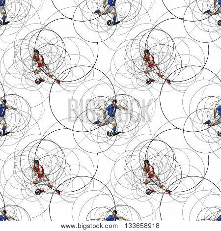Seamless pattern with an abstract image of soccer or football players with ball made with circle