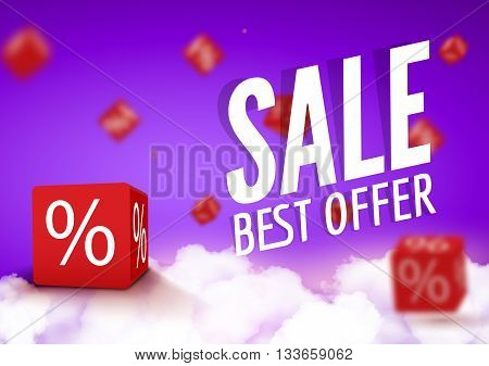 3D discount boxes dice for store market and shop. Sale best offer promotional poster or flyer brochure.