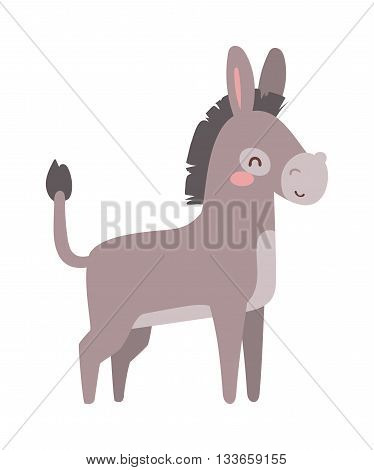 Cartoon cute donkey and cute cartoon small horse donkey. Cartoon donkey farm domestic mammal. Farm animal mule cartoon donkey. Funny cartoon donkey farm animal character vector.