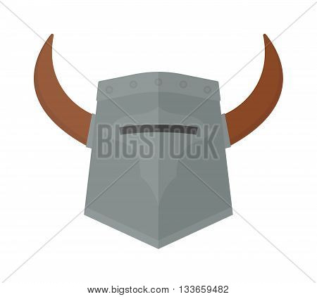 Viking helmet isolated and knight helmet vector warrior ancient. Metal old knight helmet and medieval soldier viking helmet armor history ancient sign. Strong horned safety protection helm protective.