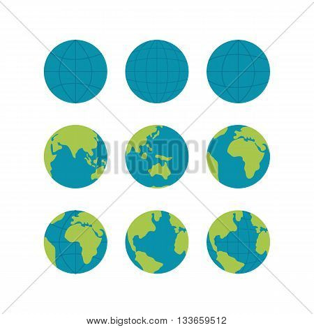 Flate globe vector icons set, vector globe signs isolated on white. Globe icons for web and applications. Travel concept. Globe icons collection with world map