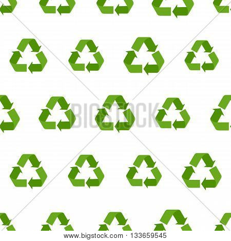 Seamless flat vector recycling sign pattern for packaging and print. Recycle symbols background for eco design