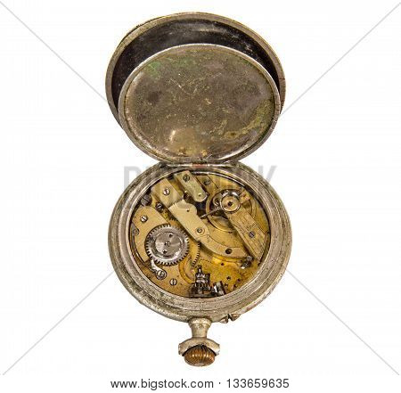 Old broken pocket watch without dial isolated on white background.