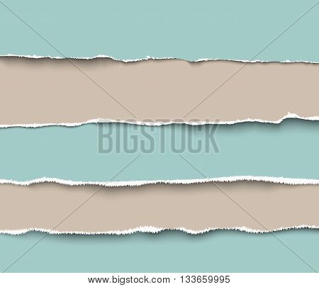 Set of torn craft paper pieces with rough edges, realistic vector illustration. Torn paper pages pieces collection
