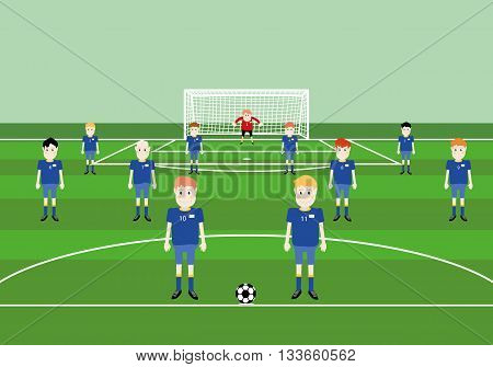vector illustration of players soccer team flat cartoon at soccer field pitch