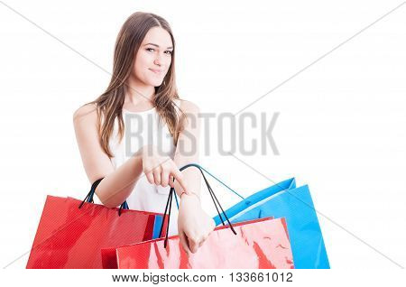 Punctuality Concept With Smiling Beautiful Shopaholic Showing Her Wrist