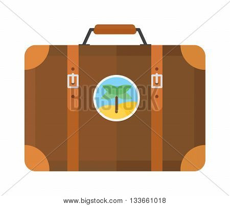 Large travel bag suitcase isolated on white and suitcase travel voyage. Travel suitcase handle baggage and suitcase tourist packing. Summer travel vacation bag with stickers