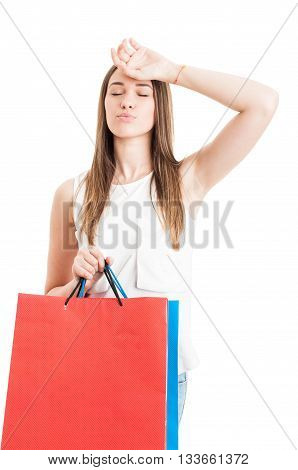 Beautiful Young Woman Buying Presents And Looking Tired