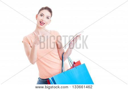 Approval Gesture About Shopping Online With Woman Holding Paper Bags