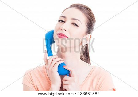 Pretty Woman Holding Telephone As Shopping Contact Concept
