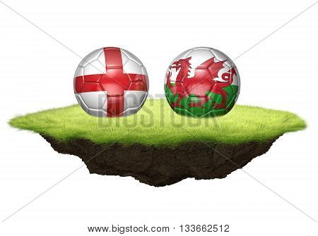 England and Wales team balls for football championship tournament, 3D rendering