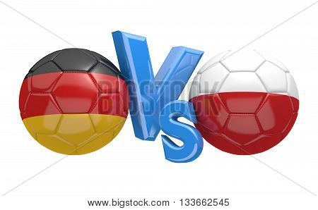 Football competition between national teams Germany and Poland, 3D rendering