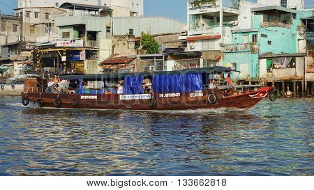 Can Tho, Vietnam, 20th May 2016. Brown Wooden Boat on the Mekong River