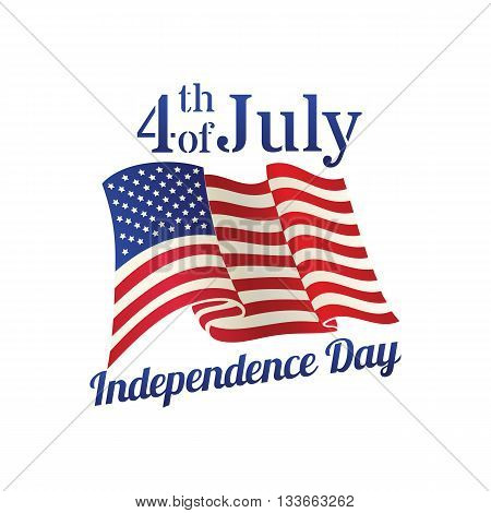 Vintage style american Independence Day design - banner or poster for web print and other projects USA waving flag vector template.