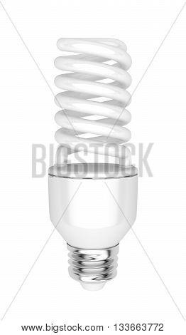 Energy saving fluorescent light bulb isolated on white background, 3D illustration