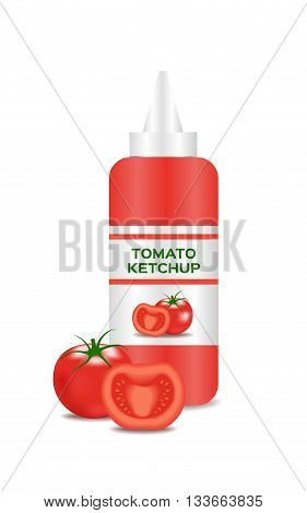 ketchup vector with a tomato , tomato sauce