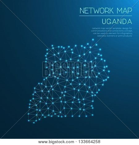 Uganda Network Map. Abstract Polygonal Map Design. Internet Connections Vector Illustration.
