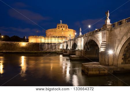 The bridge leading to Castle Sant´Angelo by night, Rome, Italy.