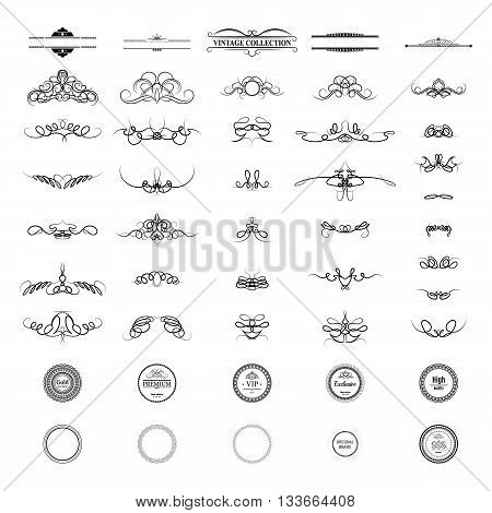 Wicker lines and old decor elements in vector. Vintage borders, frame and rosette in set. Decoration for logos, wedding album or restaurant menu.