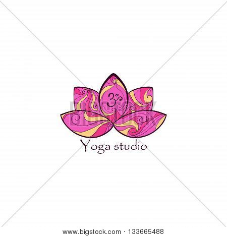 Yoga design logotype with lotus and Om sign. Vector illustration. Logo.