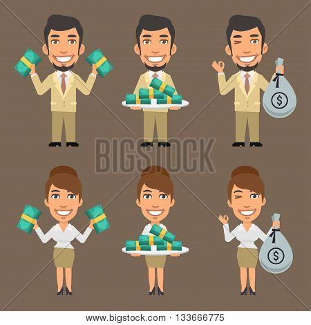 Vector Illustration, Businessman and Businesswoman Holding Money, format EPS 8