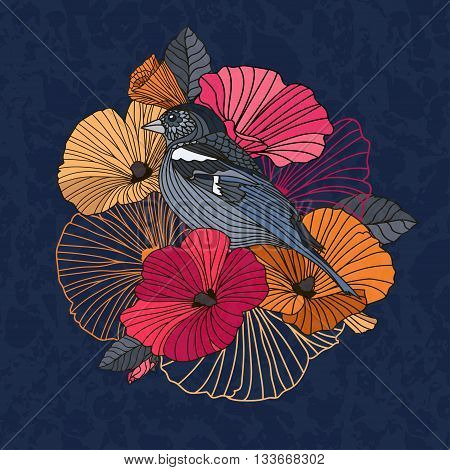 Vintage vector illustration of a bird with flowers in the garden.  Abstract  flowers and bird in the garden in red and orange  on a dark  background