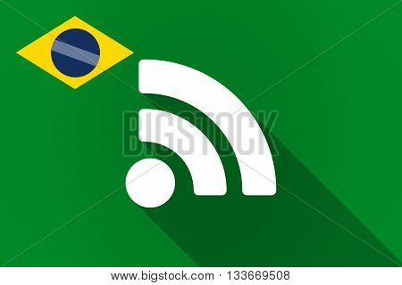 Long Shadow Brazil Flag With An Rss Sign
