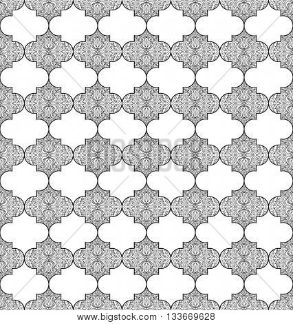 Seamless white and black pattern with art ornament. Vintage elements for design in Eastern style. Ornamental lace background. Ornate floral decor for wallpaper. Endless texture. Raster copy
