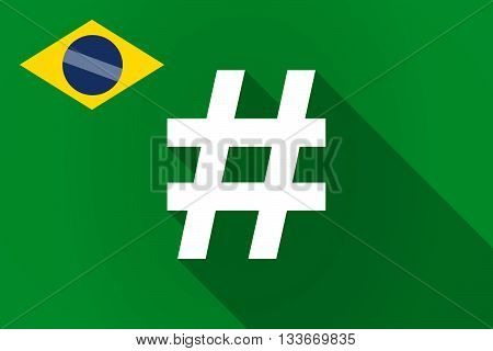 Long Shadow Brazil Flag With A Hash Tag