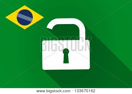 Long Shadow Brazil Flag With An Open Lock Pad
