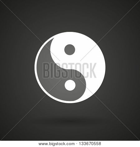 A Ying Yang   White Icon On A Dark  Background