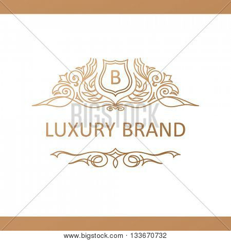 Calligraphic Luxury line logo template. Flourishes calligraphic elegant emblem. Royal logo design. Gold logo decor for menu card label, Restaurant, Cafe, Hotel. Vintage line symbol. Raster copy