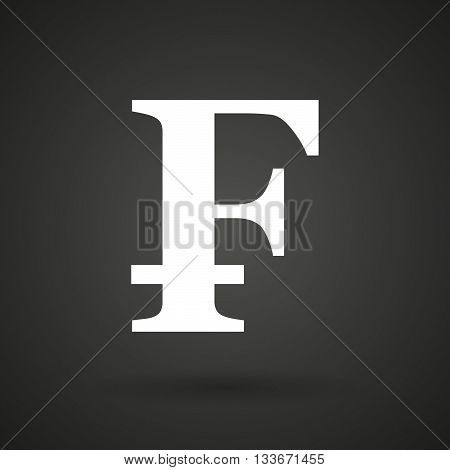 A Swiss Franc Sign    White Icon On A Dark  Background