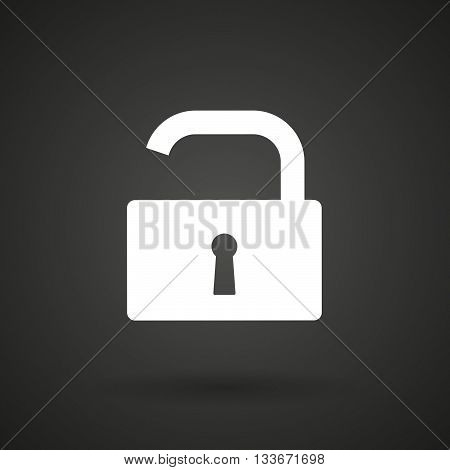 An Open Lock Pad    White Icon On A Dark  Background