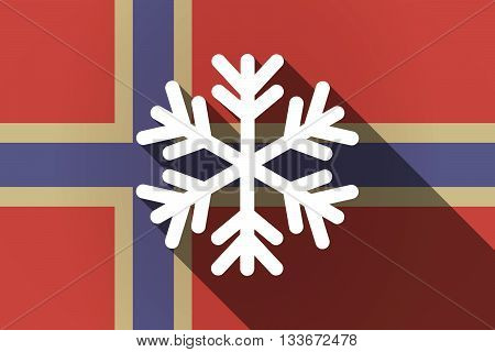 Long Shadow Norway Flag With A Snow Flake