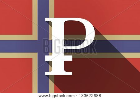 Long Shadow Norway Flag With A Ruble Sign