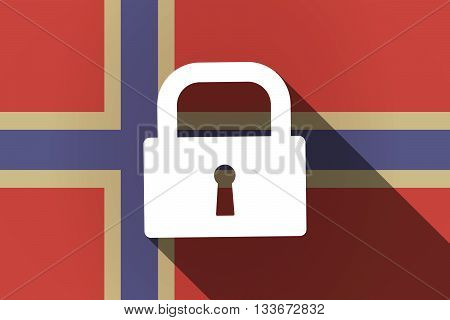 Long Shadow Norway Flag With A Closed Lock Pad