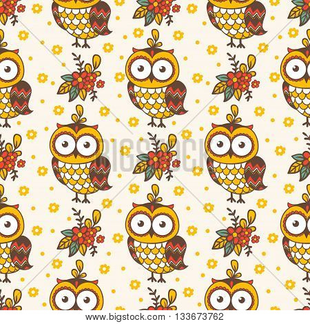 Background image with owls and flowers. Seamless pattern with owls.