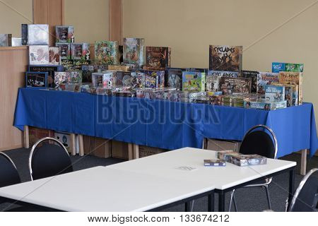 BRNO CZECH REPUBLIC - APRIL 30 2016: Desk games on table in room of desk games at Animefest anime and manga convention on April 30 2016 Brno in the Czech Republic