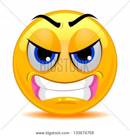 Vector Illustration of Smile Emoticon Angry Face