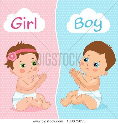 Baby Boy And Baby Girl Vector Illustration. Two Cute Cartoon Babies. Baby Shower Invitation Card. Baby Boy And Baby Girl.