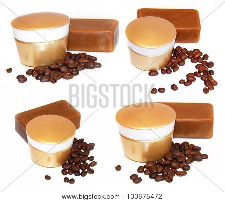 golden jar natural cream sprig natural cosmetics concept feminine tar soap beauty roasted coffee beans cosmetic concept scrub set isolated on white scrapbook background.