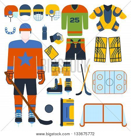 Hockey uniform set. Vector hockey uniform and accessory in flat style. Isolated hockey uniform equipment and hockey uniform athlete. Hockey attribution clothes equipment and accessories.