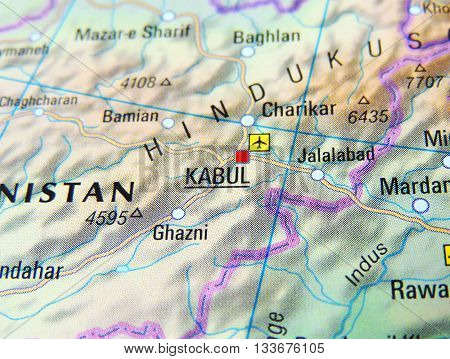 Map of Afghanistan with focus set on Kabul