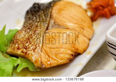 Grilled salmon with soy sauce Japanese Food