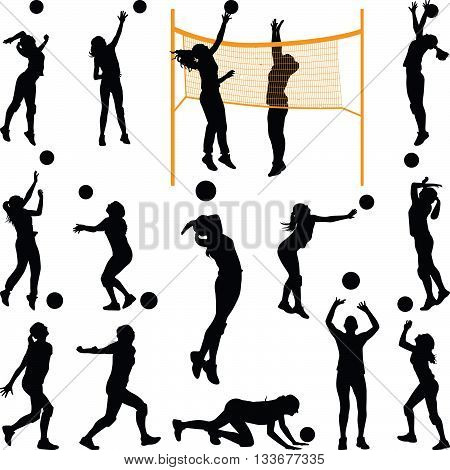 volleyball woman player in different poses silhouette vector