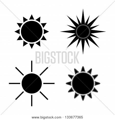 Sun icons set. Collection light gray signs with sunbeam. Design elements isolated on white background.